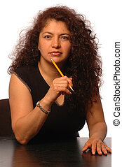 woman in office - successful hispanic business woman