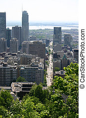 Montreal Skyline - A view of Montreals Mountain Street from...