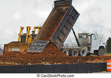 drop more dirt - Large dozer & large dumptruck working...