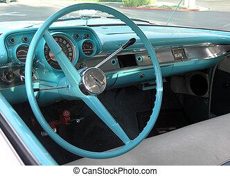 car - inside of a blue chevrolet