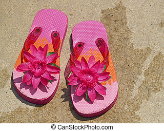 flip flop sandals by the pool - pink flip flop sandals on...
