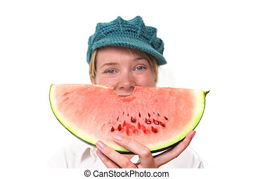 Watermelon Smile - Woman smiling from behind slice of...