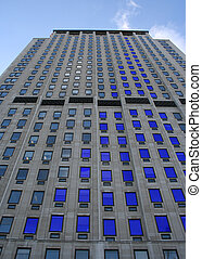 blue skyscraper bar chart graph