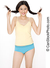 Pigtails - A funky young teenager with pigtails