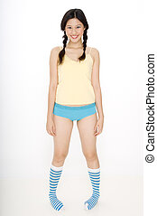 Funky Socks - A young pretty asian woman in funky colorful...