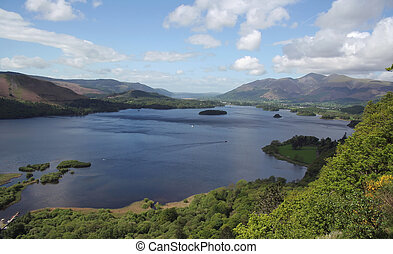 View across lake to Keswick,UK - From surprise view,across...