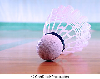 Shuttlecock on the floor in a sports hall