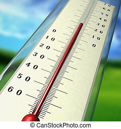 Thermometer - The thermometer shows temperature of air in...