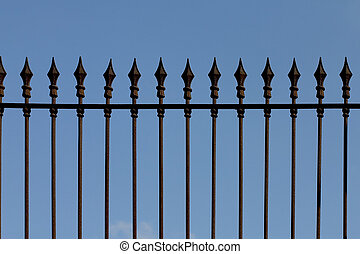 Iron picket fence - Rusty iron picket fence