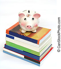 Saving for Education (Piggy Bank over Stack of Books)