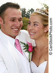 Wedding Couple - Young bride on her wedding day with her...