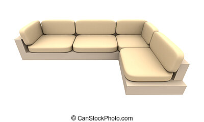 Couch 2 - 3D rendered Sofa. Natural rough textile material....