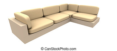 Couch 1 - 3D rendered Sofa. Natural rough textile material....