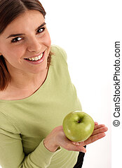 Green apple - Young woman holdin green apple