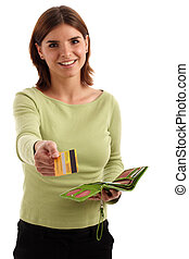 Payment - Portrait of a young pretty woman with credit card