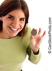 Silver dollar - Portrait of a young pretty woman holding...