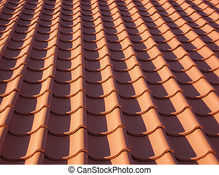 Red tile roof as background