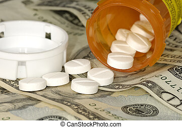 Medical Costs - Pills on Money - High Cost of Medicine...