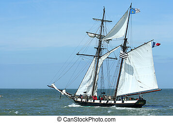 sailboat - A French sailboat at sea