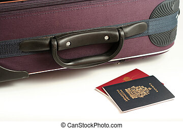 travel - passports and suitcase