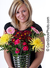 Florist With A Glass Vase Flowers