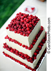 Wedding cake - Detail of wedding cake at outdoor reception