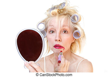 Curler Woman Series - A blonde woman with lavender curlers...