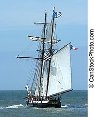 sailboat - An old French sailboat at sea