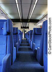vacant seats - Ground view of vacant seats inside a train...