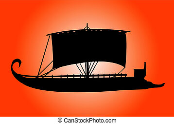 Ship - Ancient ship silhouette