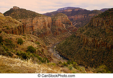 Desert Canyon - Day breaks over canyon in the Arizona...