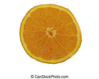 orange - This is a close-up of an orange cut in half.