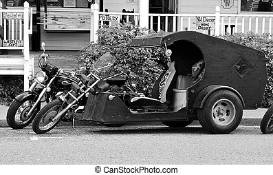 Black and White Parked Trike - Black and White parked custom...