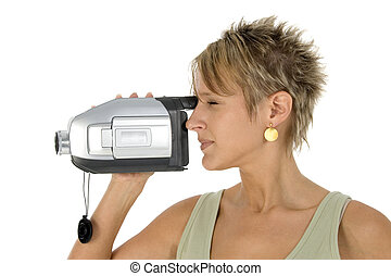 Video Camera - Woman with video camera.  Profile.