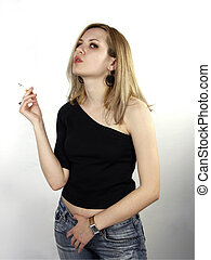 Smoking girl - Blondie girl with cigarette