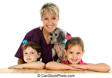Vet, Dog Children - Female veterinarian with dog and...