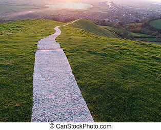 The Long Walk - Walk towards Glastonbury from the top of...