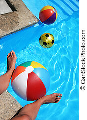 Summer scene with beachballs
