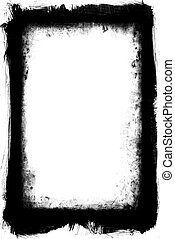 Grunge Frame Element - Black and white grungy frame with...