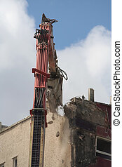 Demolition of flats - Tower block being demolished