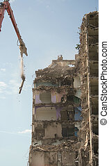 Demolition of tower block - Flats being demolished