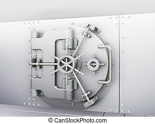Bank vault - 3D render of bank vault with door closed