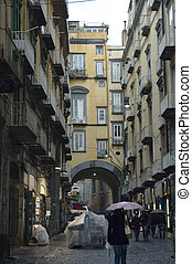 Spaccanapoli street of Naples under the rain - Spaccanapoli...