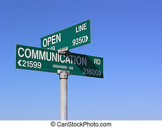Open communication sign, with blue sky background