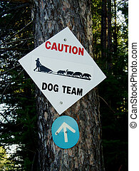 Caution sign for dog team crossing