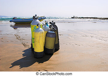 Sudwana #25 - The beach at Sudwana with diving equipment in...