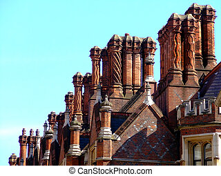 Chimneys - Red roof with dozens of chimneys and sky in...