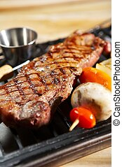 BBQ - Isolated BBQ steak dinner - grill