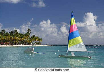 Caribbean Watersport - Beautiful caribbean lagoon with a...