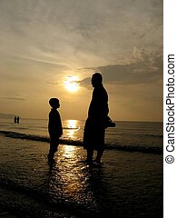 Father and Son - Father and son at the beach in the morning